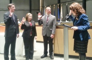 New Rochester Hills City Councilmembers Thomas Wiggins, Steph Morita and Kevin Brown take the Oath of Office