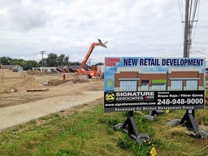 Crews continue to work on the retail development at Rochester and Auburn roads in Rochester Hills. The space is expected to include McDonald's and Starbucks locations and open in the early fall. Photo by Paul Kampe of The Oakland Press
