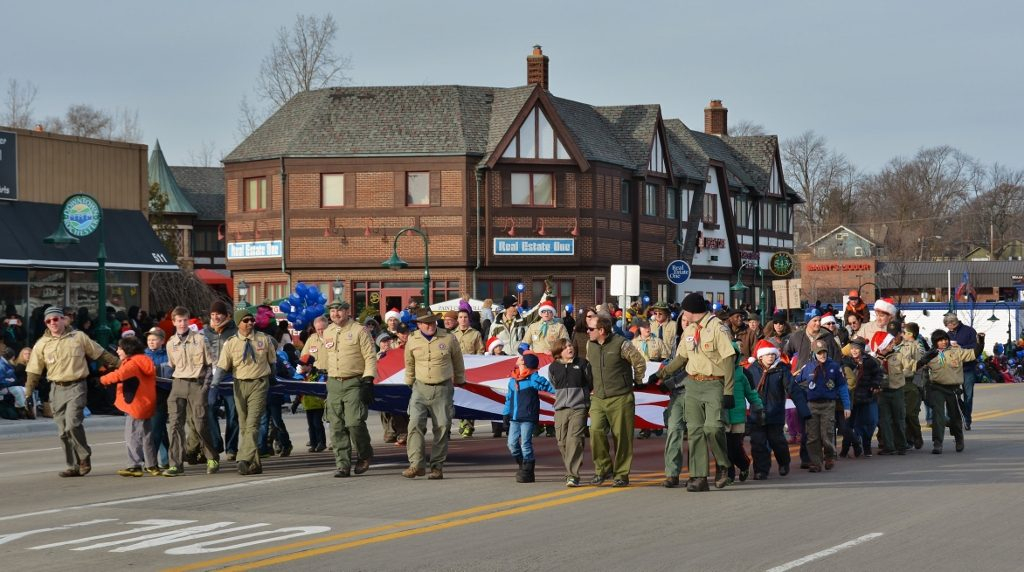 Boy Scouts carry the Big American Flag in the parade - photo by Michael Dwyer