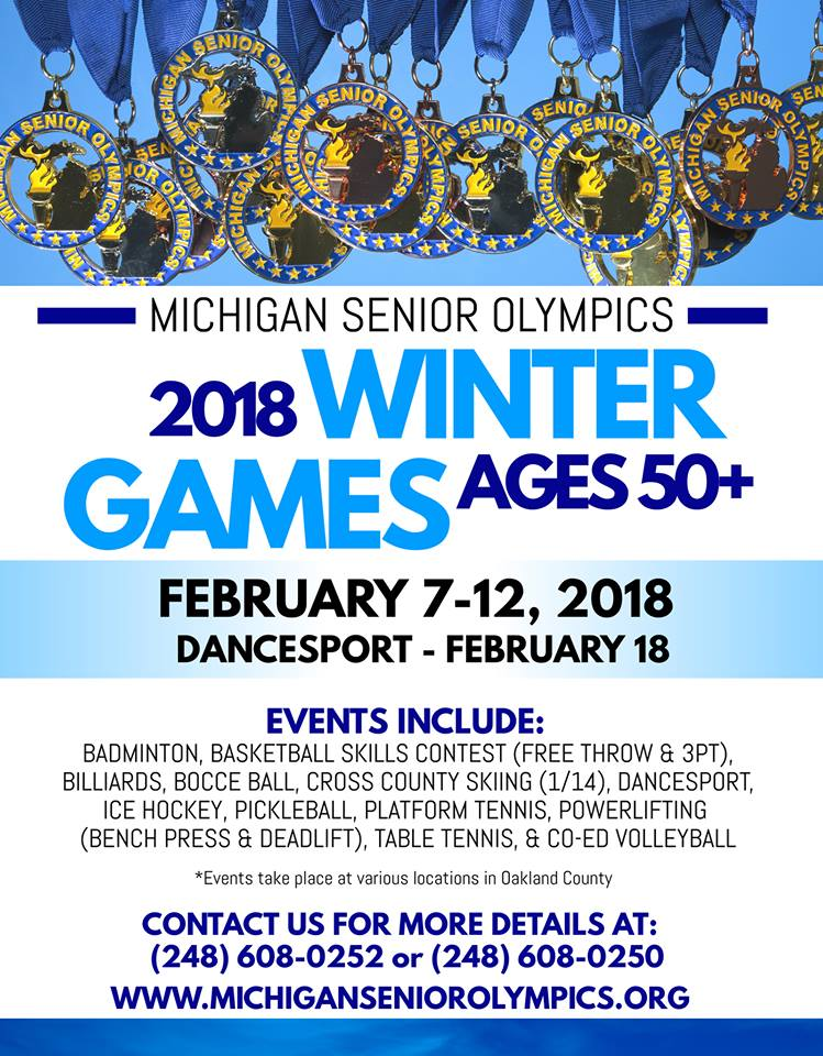 Michigan Senior Olympic Winter Games Official Poster with name, dates, and events.