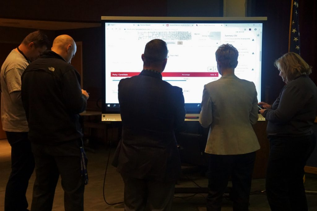 Five people watch a large screen TV