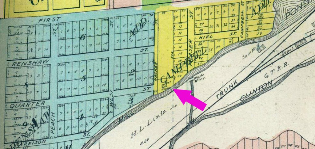 An old map of Rochester with an arrow pointing to the location of the Pest House.